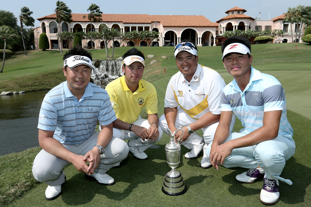 Kiradech Aphibarnrat, Hideki Matsuyama, Daisuke Maruyama and Ashun Wu will make their debuts at The Open Championship in July after leading the International Final Qualifying – Asia on Friday.  (Chris McGrath/R&A)
