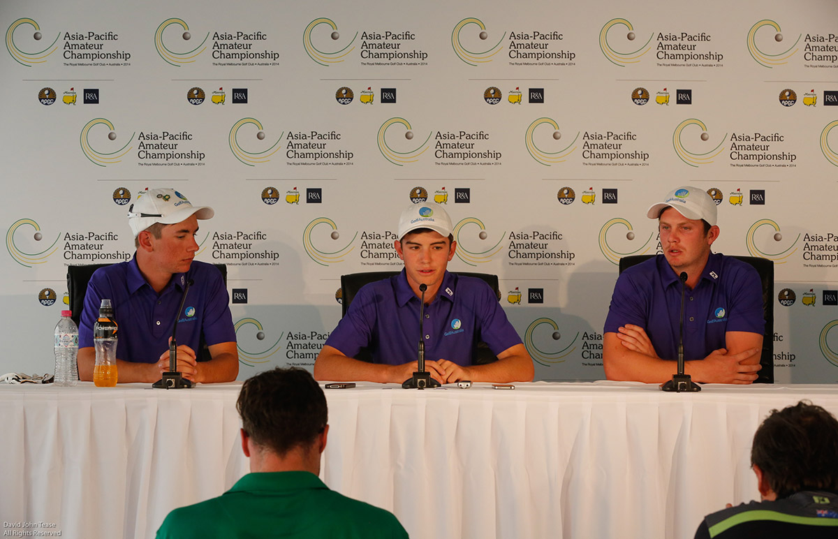 Melbourne, Australia: Lucas Herbert, Ryan Ruffels and Geoffrey Drakeford of Australia during their press conference today for the Asia-Pacific Amateur Championship at the Royal Melbourne Golf Club). October 22 2014, (photo by Dave Tease/AAC)