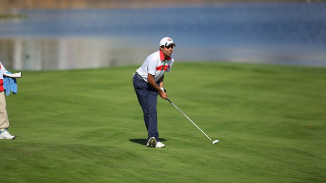 Incheon, South Korea: Azzan AL RUHMY of Oman on the 1st Hole during 1st round of the 2016 Asia-Pacific Amateur Championship at Jack Nicklaus Golf Club on October 06, 2016. (Photo by AAC Official Photo Team)