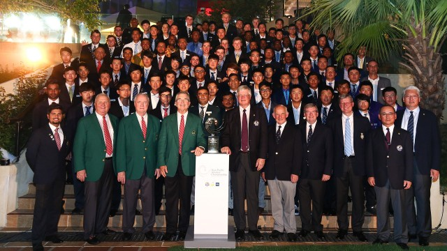 Hong Kong: Group photo of the players and official during the Welcome Reception of the 2015 Asia-Pacific Amateur Championship at the Clearwater Bay Golf & Country Club in Hong Kong on September 30, 2015. (Photo by Alex Liew/AAC)