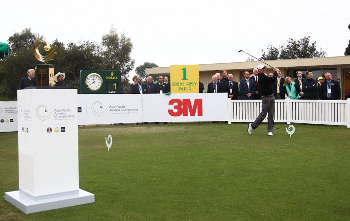 Melbourne, Australia: Jarryd Felton of Australia tees off at the 2014 Asia-Pacific Amateur Championship at the Royal Melbourne Golf Club during Round 1 on October 23, 2014. (Photo by Ian Knight/AAC)