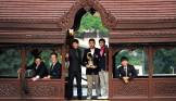 Camron Smith of Australia, Oliver Goss of Australia, Pan Cheng-tsung of Chinese Taipei, Poom Saksansin of Thailand, Natipong Srithong, of Thailand, Lee Soo-min of Korea pose with the Asia-Pacific Amateur Championship trophy on the Chao Praya River, Bangkok, Thailand