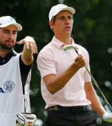 BROOKLINE, MA - AUGUST 18: Oliver Goss of Australia confers with Brady Watt from the 7th tee box in the first round of the 2013 U.S. Amateur Championship at The Country Club on August 18, 2013 in Brookline, Massachusetts. (Photo by Jim Rogash/Getty Images)