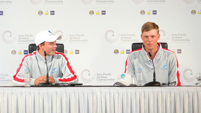 Incheon, South Korea: Brett Coletta and Cameron Davis of Australia at the media conference after the 3rd round of the 2016 Asia-Pacific Amateur Championship at the Jack Nicklaus Golf Club in Korea on October 8th, 2016. (Photo by AAC)