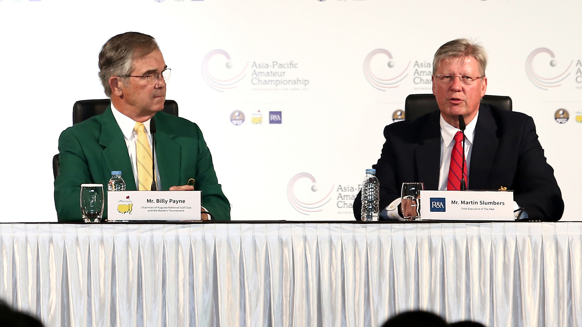 Incheon, South Korea: Dr. David Cherry(Left), Mr. Billy Payne(Middle), Mr Martin Slumbers(Right) on Official Press Conference of 2016 AAC at the Jack Nicklaus Golf Club in Korea on October 6th, 2016. (Photo by AAC)
