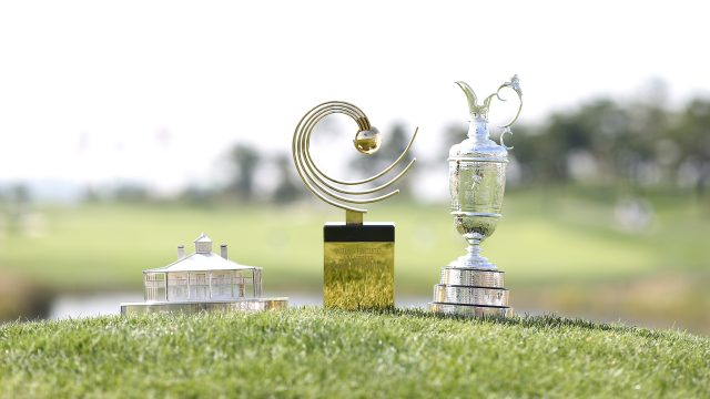 Incheon, South Korea: Three trophies on the course during the 2016 Asia-Pacific Amateur Championship at the Jack Nicklaus Golf Club in Korea (Photo by AAC)
