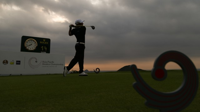 Hong Kong: Antonio Murdaca of Australia tees off from the gloomy sky the 10th tee box during the Round 2 of the 2015 Asia-Pacific Amateur Championship at the Clearwater Bay Golf & Country Club in Hong Kong on October 02, 2015. (Photo by Alex Liew/AAC)