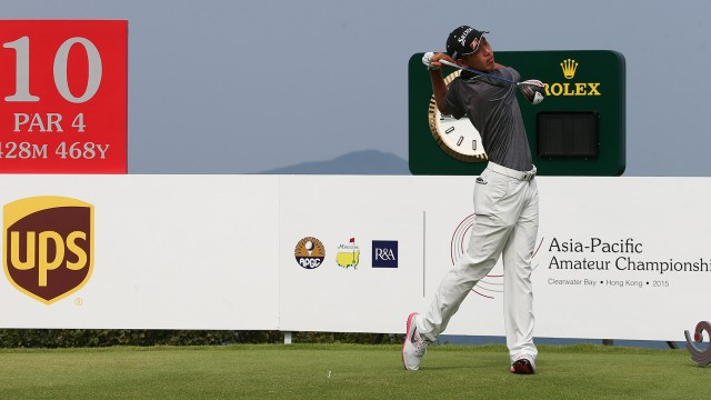 Hong Kong: Cheng Jin of China tees off from the 10th hole during the Round 2 of the 2015 Asia-Pacific Amateur Championship at the Clearwater Bay Golf & Country Club in Hong Kong on October 02, 2015. (Photo by Alex Liew/AAC)