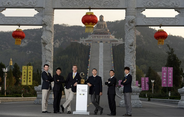 LONGKOU CITY, China- (L-R) - Brady Watt of Australia, Pan Cheng-tsung of Chinese Taipei, Oliver Goss of Australia, defending champion, Guan Tianlang of China, Eric Sugimoto of Japan and Lee Chang-woo of Korea pictured at the Nanshan Buddha ahead of the Asia -Pacific Amateur Championship Wednesday, October 23, 2013. Picture by Paul Lakatos/AAC.