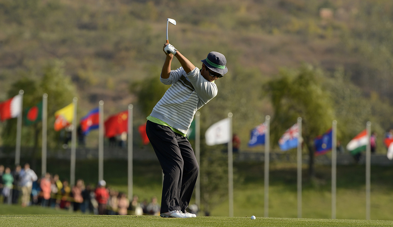 LONGKOU CITY, China - Dou Zecheng of China pictured during round three on Saturday 26 October at the Asia -Pacific Amateur Championship at Nanshan International Golf Club, Garden Course. Picture by Paul Lakatos/AAC.